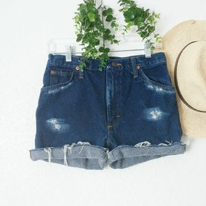 Wrangler High Rise Cut Off Destroyed Jean Shorts